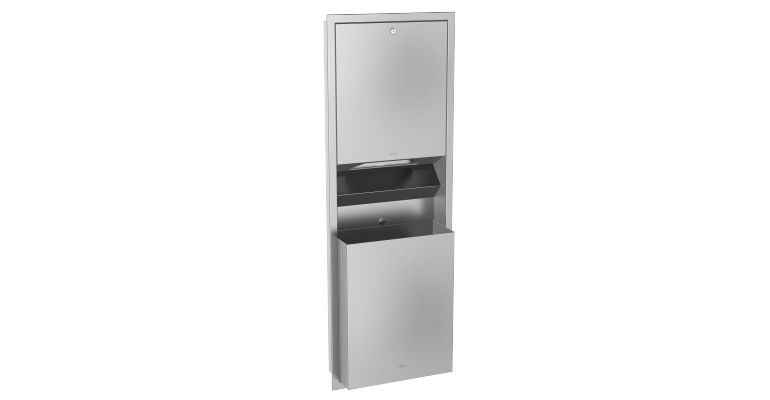 Combination paper towel dispenser and waste bin: RODX602E - Franke