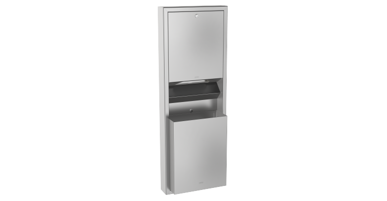 Combination paper towel dispenser and waste bin: RODX602 - Franke